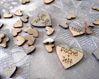 Wooden heart confetti, personalized heart confetti, table confetti, Custom Confetti, Wedding Confetti, Personalized hearts