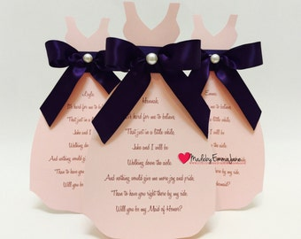 Will You Be My Bridesmaid Dress Card