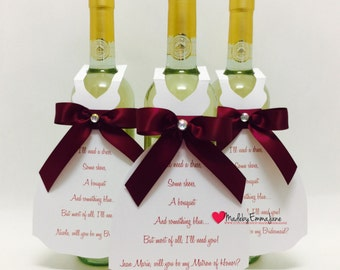 Will You Be My Bridesmaid Wine Bottle Tags