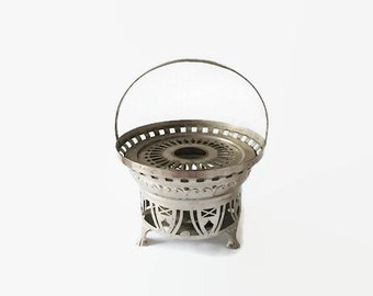 Vintage tealight, silvercolored tealight, 1920s tealight, vintage 1920s tealight, 1920s teawarmer, 1920 teapot warmer, vintage teapot warmer