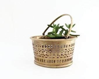 Vintage Planter - Brass Bucket - Brass Pierced Bucket - Brass Planter - Brass Basket - Brass Oraganizer