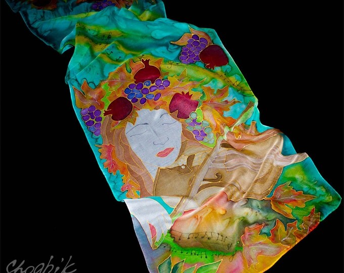 Hand Painted Silk Scarf - Batik - Armenian silk scarf - Springtime - Red, Aqua, Gold, Purple, Brown, Yellou, Green - Gift