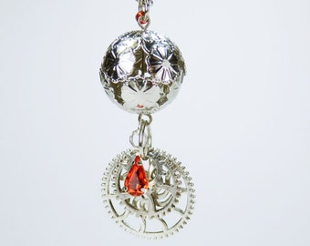 Necklace gears of ball with red rhinestone of silver link chain steampunk jewelry gears pendant with gear red Pearl