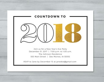 New Year's Eve Party Invitation  |  New Year's Invitation  |  Countdown to 2018 New Year's Invitation
