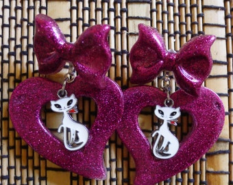 Pink Heart Diva Earrings with Cats Valentine Drag queen  Rockabilly Pin Up Retro Doll ....