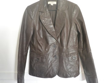 VINTAGE Brown Leather jacket // 90's // Grunge // Hipster // Size 12 // Womens