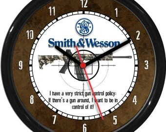 Smith & Wesson Rifle Hunter Gun Shot Sales Shop Dealer Sign Wall Clock Man Cave Rec Room NRA Ducks Unlimited