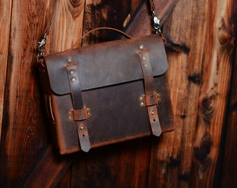 Vintage leather satchel, latop bag, ipad bag. Handmade in the USA
