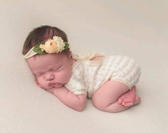 CUSTOM newborn-Sitter open scoop  back romper- ANY COLOR dainty outfit photography prop newborn child photography