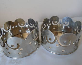 silver plated wine coasters/holders x 2
