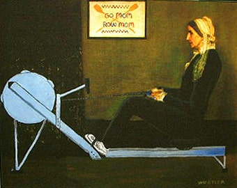 "WHISTLERS MOTHER On an ERG 11x14 Art Print Rowing Humor ""Go Mom/Row Mom"" Mint Condition"