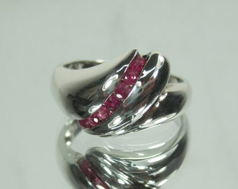 Sterling Silver Ruby Channel Set Gemstone Ring Size 9 3-1-17