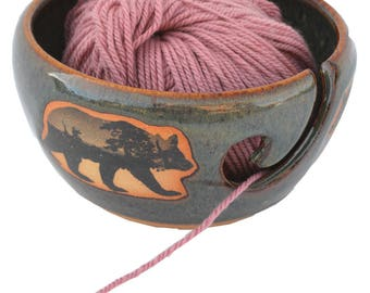Mountain Scene Bear Yarn Bowl in Seamist
