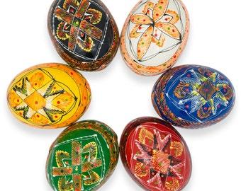 "2.5"" Set of 6 Colorful Ukrainian Pysanky Wooden Easter Eggs- SKU # gs-127"