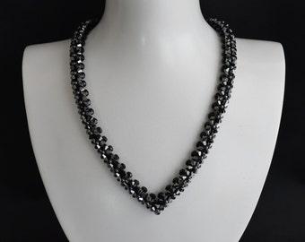 "Swarovksi hematite crystal necklace ""A la hauteur"" 2x"