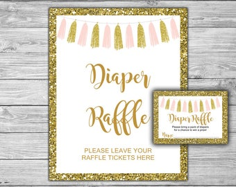 Pink and Gold - Baby Shower - Diaper Raffle Tickets and Diaper Raffle Sign - Printable - Instant Download - Pink - Gold - Tassels - 094