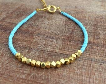 Nugget bracelet, dainty bracelet, simple bracelet, gold nugget, robins egg blue bracelet, friendship bracelet, robins egg and gold