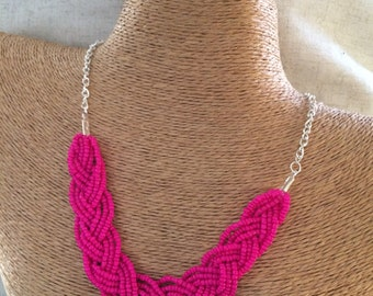 Braided pink necklace, pink bib necklace, pink statement, statement necklace, hot pink bridesmaids, hot pink necklace, hot pink bib, pink