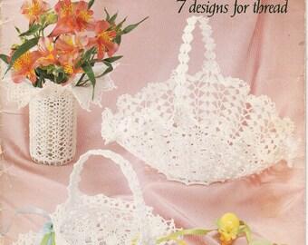 Lace Baskets Crochet basket pdf Crochet lace pattern Basket crocheted Pattern crochet basket Pdf file