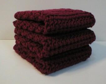 Handmade Crochet Cotton Dishcloths Washcloths, Set of 3 Burgundy (Dishcloths2006)
