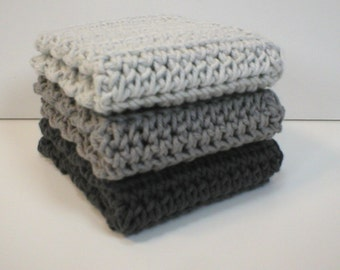 Handmade Crochet Cotton Dishcloths or Washcloths, Set of 3 in Shades of Grey: Light Grey, Medium Silver Grey, Dark Ash Grey (Dishcloths2131)