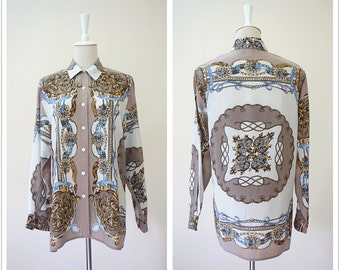 Baroque 100% genuine silk women art printed shirt. Vintage byzantine printed antique women blouse .Size medium.Shipping included.Y16612
