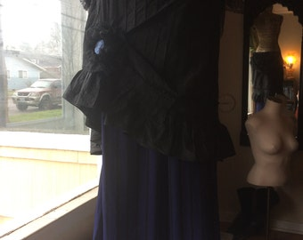 """Black and Royal Blue Bustle Skirt with Striped Underskirt and Cameo- """"Isadora"""""""