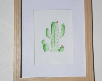 Flowering Cactis - Watercolor Pencil - Original