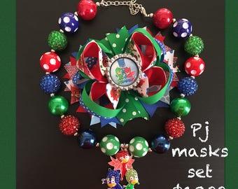 PJ Masks Bow and Bubblegum Necklace Set
