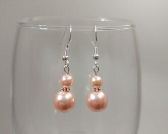 Peach Glass Pearl Earrings
