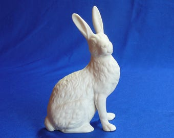 Easter rabbit -- jackrabbit bunny figurine in porcelain bisque ceramic ready to paint