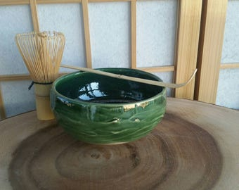 Green chawan set, matcha teabowl for Japanese tea ceremony with bamboo whisk and spoon