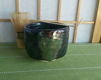 Black and chawan set, matcha teabowl for Japanese tea ceremony with bamboo whisk and spoon