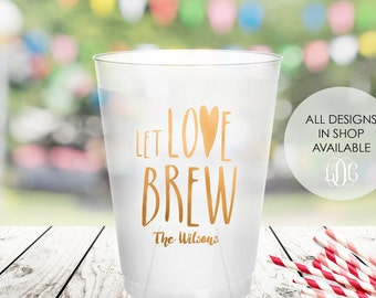 let love brew party cups personalized cup reception party decorations bridal shower decor