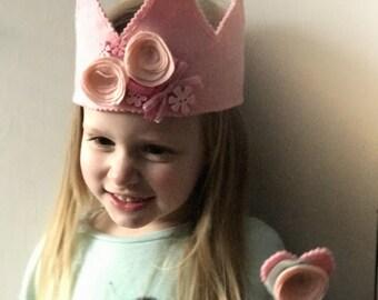 Felt crown   Felt pink crown headband with flower corsages and felt wand set