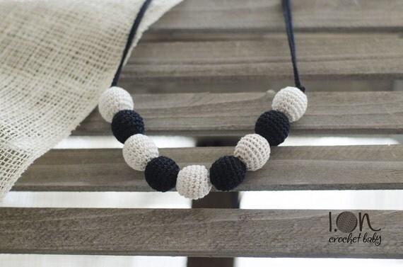 Black&White - Nursing necklace - Teething Necklace - Crochet Necklace