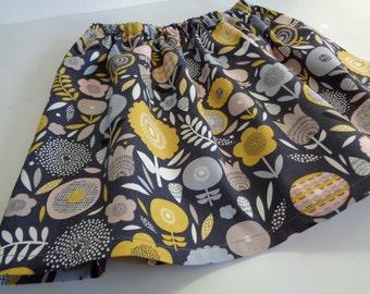 Girls Skirt, mustard skirt, grey skirt, floral skirt, pink skirt, elastic waist skirt, on trend, gifts for her, play dress, occasion dress