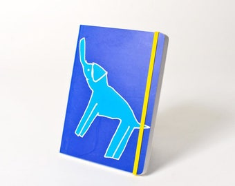 """Blank Hardcover Journal with Elastic Closure, """"Elephant"""""""