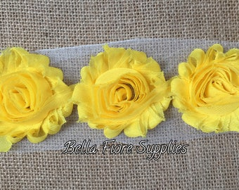 Yellow Shabby Chiffon Rose Trim- 2.5 inch- Shabby Chiffon Flowers- Wholesale- Shabby Trim Flowers- Bright Yellow Flowers