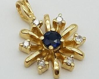 Vintage Sapphire & Diamond Star Pendant in 14K Yellow Gold