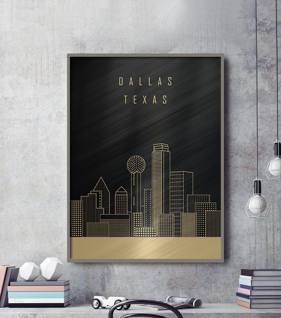 DALLAS Skyline Dallas Canvas Print Travel Art Home