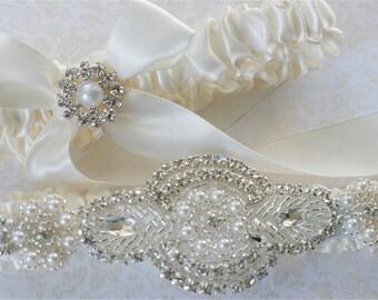 Ivory Glitz wedding garter set,   Ivory glitz garters,  Wedding garters,  Garters