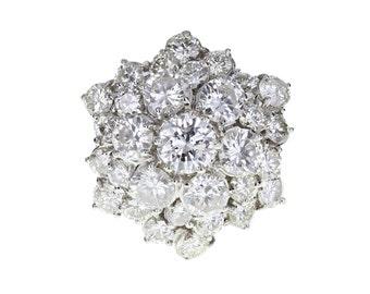 1950s Hexagonal Domed Diamond Cluster Ring