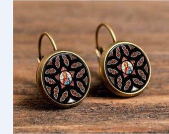 Mandala glass cabochon earrings