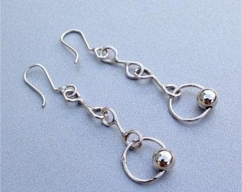 Sterling silver dangle earrings, Silver circle earrings, Long dangle earrings, Silver gift earrings, Gift earrings, Earrings handmade