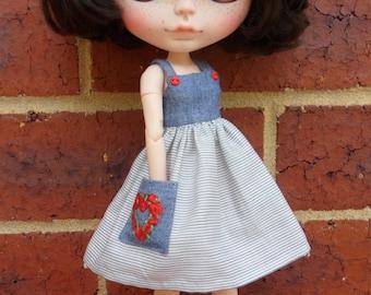 BLYTHE --Sundress denim and fine blue stripe --Dress Only