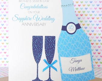 Personalised Handmade Sapphire/45th Wedding Anniversary Card, Friends, Sister, Brother, Mum & Dad, Friends