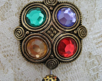 Magnetic Portuguese Knitting Pin Gold tone acrylic Renaissance style Multi color acrylic jewels