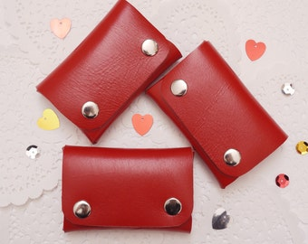 Red Leather Card & Coin Wallet