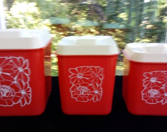 Vintage Mid Century Plastic Canister Set, Red with White Lids and Flowers, Sizes 111, 112 and 113, Mint Condition